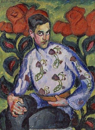 Ilja Iwanowitsch Maschkoff: Bildnis eines jungen Mannes in bemaltem Hemd. 1909