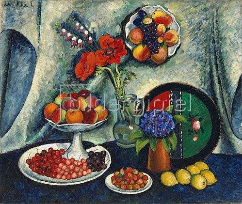 Ilja Iwanowitsch Maschkoff: Obststillleben mit Mohn- und Kornblumen. 1912/13