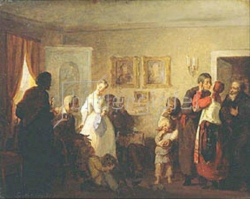 Grigorij G Mjasojedow: Gratulation den Neuvermählten in einem Landhaus. 1860.