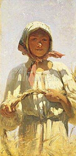 Grigorij G Mjasojedow: Bauernmädchen bei der Kornernte.