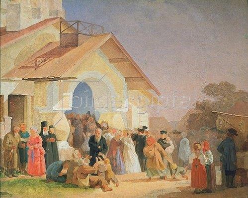 Alexander Iwanow Morosoff: Nach dem Kirchgang in Pskov. 1863/1864.