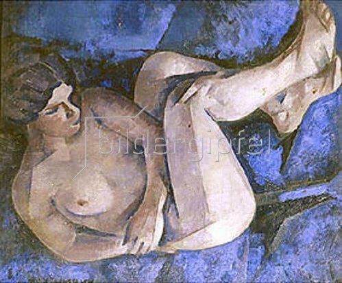 Ignatij Ignatjew Nivinskij: Kauernder weiblicher Akt auf blauem Sofa. 1916.