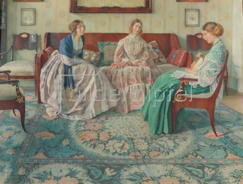 Nikolai Filippovich Petrov: Drei Damen in einem vornehmen Interieur. 1916