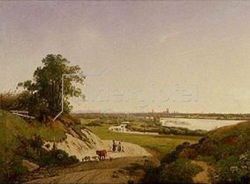 Ernst Kaiser: Blick von Oberföhring auf München. 1835/1840.