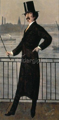 Walter Greaves: James Abbott McNeill Whistler auf dem Widow's Walk in der Nähe seines Hauses.