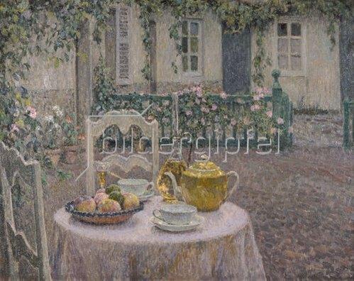 Henri Le Sidaner: Das rosa Tischtuch. 1924.