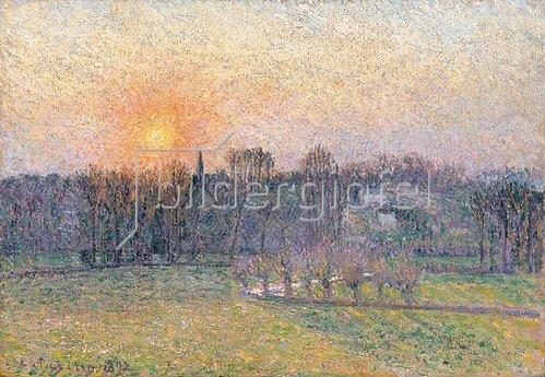Camille Pissarro: Sonnenuntergang über Baumlandschaft. 1892