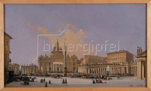Ippolito Caffi: Papstsegnung auf dem Petersplatz in Rom. Entstanden zwischen 1830 und 1866.