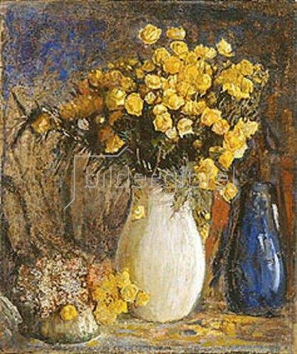 Pjotr Petrowitschev: Gelbe Blumen in weissem Krug.