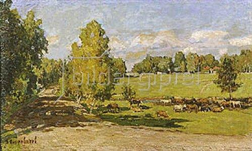 Pjotr Petrowitschev: Viehherde in grüner Weidelandschaft. 1915.