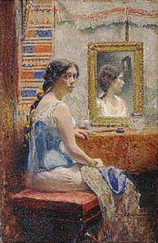 Iwan Pawlowitsch Pochitonow: Junge Frau mit Spiegelbild. 1890-er Jahre.