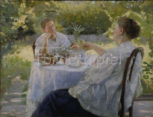 Lukian Wassiljewitsch Popov: Beim Tee trinken im Garten. 1911.
