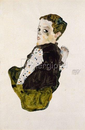 Egon Schiele: Sitzender Knabe. 1911