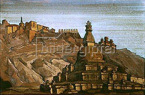 Nikolai Konstantinow Roerich: Tibetische Landschaft mit Stupa. 1920-er Jahre.