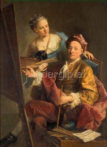 Georg Desmarées: Selbstbildnis mit Tochter Maria Antonia. 1760.
