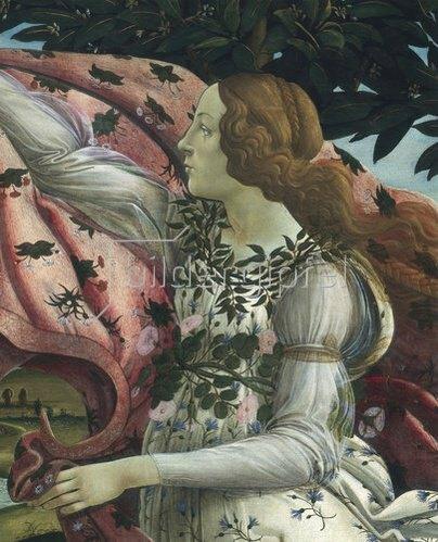 """Sandro Botticelli: Detail aus dem Gemälde """"Geburt der Venus"""": Flora"""