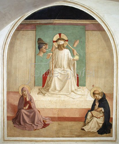 Fra Angelico: Verspottung Christi mit Maria und dem Hl. Dominikus.