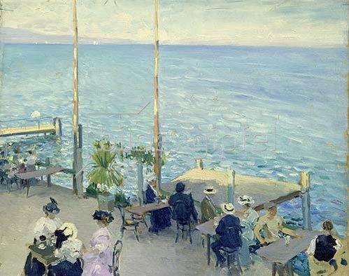 Nikolaj Klodt: Café-Terrasse am Genfer See. 1908