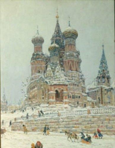 Nikolaj Dubowskoj: Moskau, die Kirche des gesegneten Wassilij. 1916/1917.