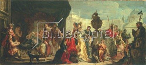 Francesco Fontebasso: Der syrische König Seleucus am Bett seines liebeskranken Sohnes Antiochus.
