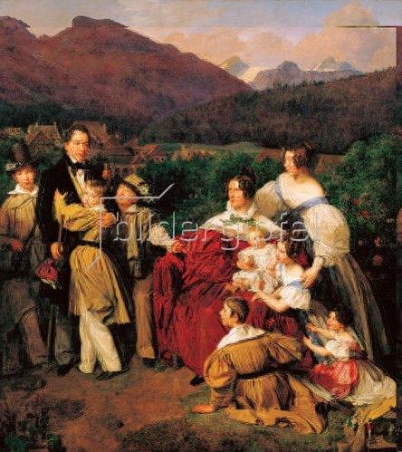 Ferdinand Georg Waldmüller: Der Notar Dr. J.A. Eltz mit Gattin und acht Kindern in Bad Ischl.