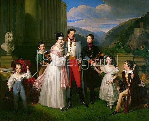 Johann Nepomuk Ender: Erzherzog Karl mit Frau Henriette von Nassau-Weilburg und Kindern vor Schloss Weilburg in Baden nahe Wien.