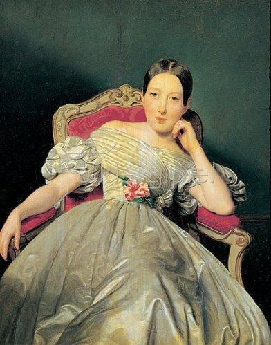 Ferdinand Georg Waldmüller: Sitzendes Mädchen in weissem Atlaskleid. 1839.