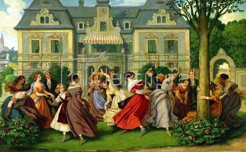 Moritz von Schwind: Gesellschaftsspiel. Nach 1860.