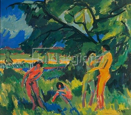 Ernst Ludwig Kirchner: Spielende nackte Menschen. 1910.