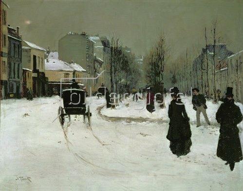 Norbert Goeneutte: Der Boulevard Clichy in Paris im Schnee. 1875/1876.