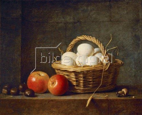 Henri Roland de la Porte: Zwei Äpfel und ein Korb mit Eiern. 1788.