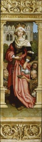 Hans Holbein d.Ä.: Sebastiansaltar. 1516. Re.Flügel innen: Die hl.Elisabeth mit drei Bettlern.
