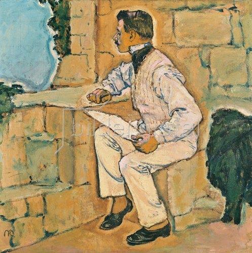 Koloman Moser: Selbstbildnis. Der Künstler auf einem Mauervorsprung sitzend. Um 1905.