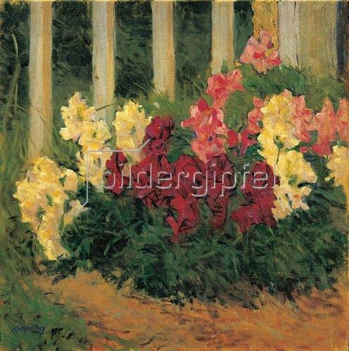Koloman Moser: Blumenstrauch vor einem Gartenzaun. 1909.