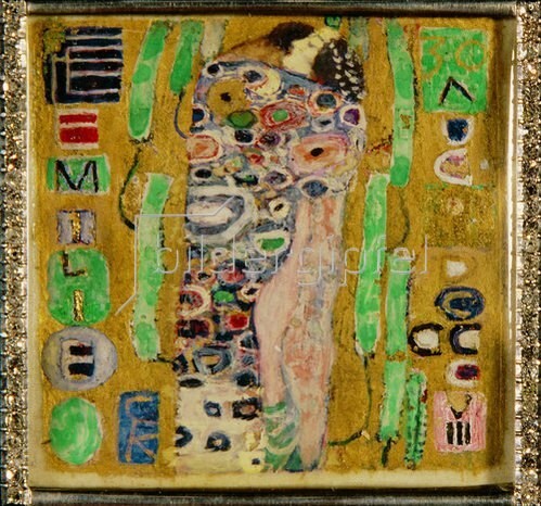 Gustav Klimt: Brosche zum 34. Geburtstag von Emilie Flöge. (Motiv von 'Der Kuss'). 1908