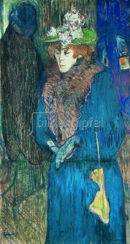 Henri de Toulouse-Lautrec: Jane Avril beim Betreten des Moulin Rouge.