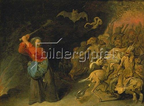 """David Ryckaert III.: Die """"Dulle Griet"""" unternimmt einen Raubzug vor der Hölle."""