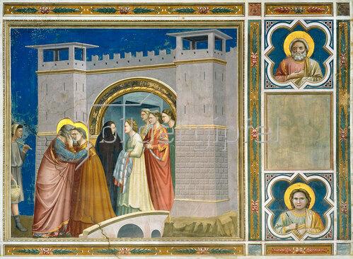 Giotto di Bondone: Die Begegnung von Joachim und Anna an der goldenen Pforte.