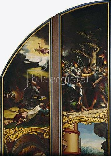 Hans Holbein d.J.: Flügelaltar mit acht Bildern aus der Passion Christi, Detail: Gebet am Ölberg und Der Judaskuss (siehe auch Bildnummer 10725). Um 1524