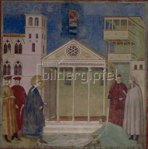 Giotto di Bondone: Verehrung des heiligen Franziskus durch einen einfachen Mann. Um 1300