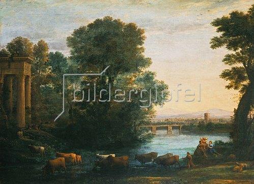 Claude Lorrain (Gellée): Idyllische Landschaft bei untergehender Sonne. 1670.