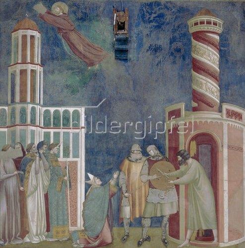 Giotto di Bondone: Der hl. Franziskus befreit den Häretiker Petrus von Alife aus dem Gefängnis. 1297-99