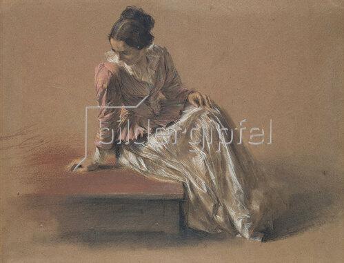 Adolph von Menzel: Kostümstudie einer sitzenden Frau. (Die Schwester Emilie).
