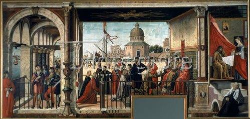 Carpaccio/Scarpazza: Die Ankunft der englischen Botschafter (Zyklus aus dem Leben der Hl. Ursula). Um 1498