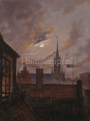 Carl Gustav Carus: Deutscher Mondschein (Blick über Dächer auf eine gotische Kirche im Mondschein). 1833.