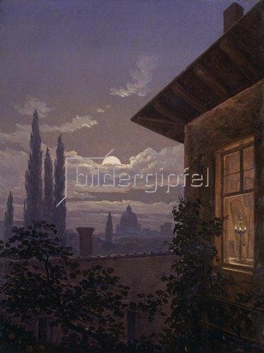 Carl Gustav Carus: Italienischer Mondschein (Rom, Peterskirche im Mondschein). 1833