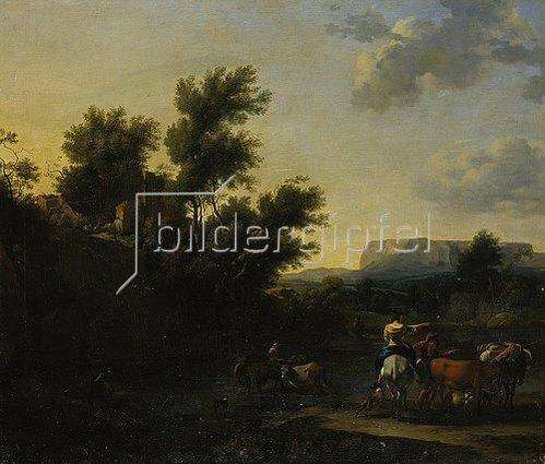 Nicolaes Berchem: Italienische Landschaft mit Vieh und Hirten.