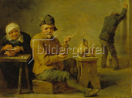 David Teniers: Zwei Bauern und ein altes Weib in der Schenke.