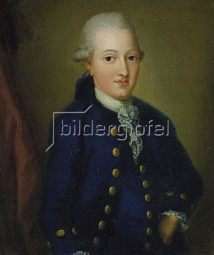 Unbekannter Künstler: Portrait von Goethe als 20-jähriger.