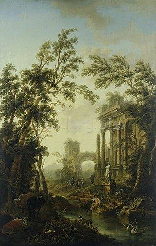 Christian Georg Schütz d.Ä.: Ideallandschaft mit antiken Ruinen. Um 1759/63
